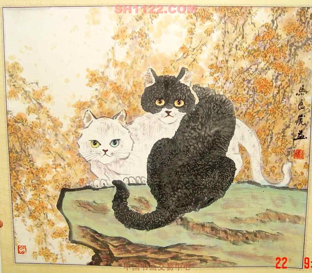 名家 马良虎 花鸟 - 黑猫白猫