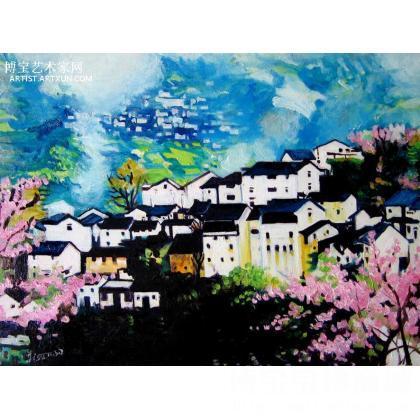 名家 李素 国画;油画;水彩; - 李素 徽州风景油画 类别: 风景油画